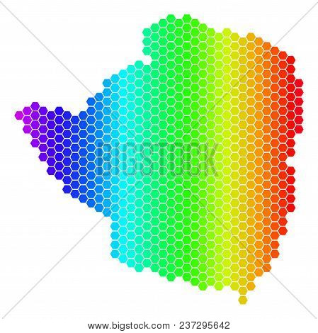 Hexagon Spectrum Zimbabwe Map. Vector Geographic Map In Bright Colors On A White Background. Spectru