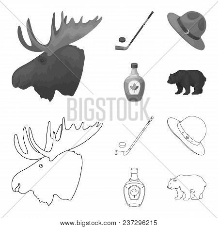 A Canadian Policeman Hat, A Bottle Of Maple Syrup And Other Canadian Symbols.canada Set Collection I