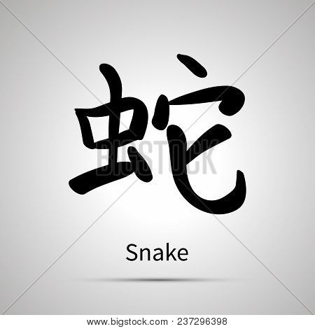 Chinese Zodiac Symbol, Snake Hieroglyph, Simple Black Icon With Shadow