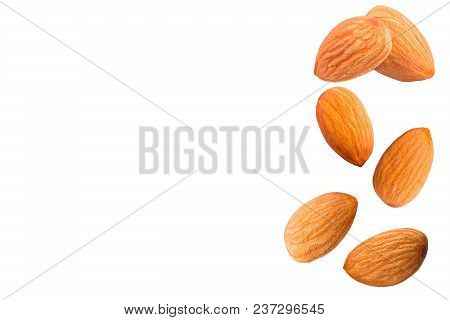 Sweet Almonds On White Background With Clipping Path As Package Design Element.