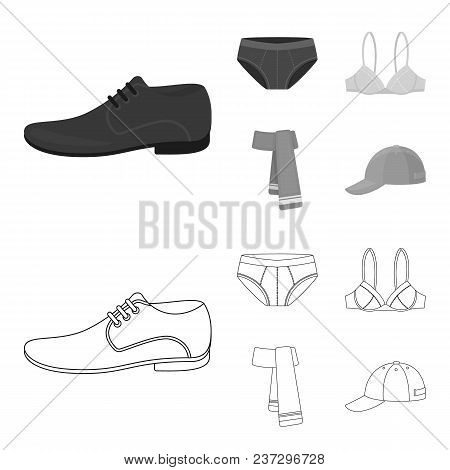 Male Shoes, Bra, Panties, Scarf, Leather. Clothing Set Collection Icons In Outline, Monochrome Style