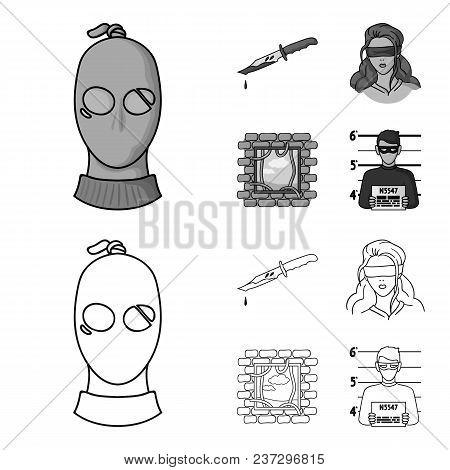 A Thief In A Mask, A Bloody Knife, A Hostage, An Escape From Prison.crime Set Collection Icons In Ou