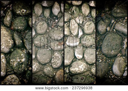 Stone Texture, Rock Surface Level, Pebble Background For Web Site Or Mobile Devices.
