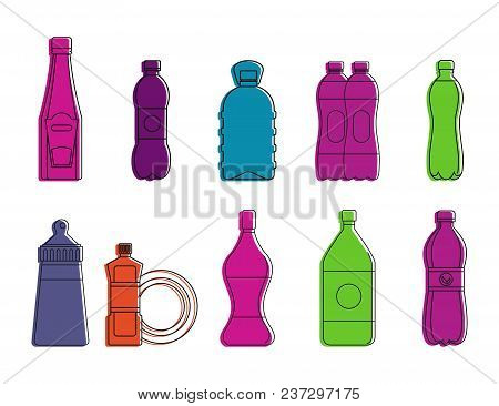 Plastic Bottle Icon Set. Color Outline Set Of Plastic Bottle Vector Icons For Web Design Isolated On