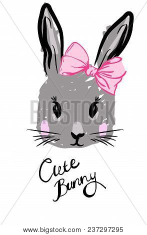 Cute Rabbit With Bow On Head. Postcard Illustration Or T-shirt Print