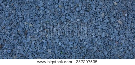 Granite Gravel Of Macadam, Rock Blue Gray Crushed For Construction On The Ground, Scree Texture Back
