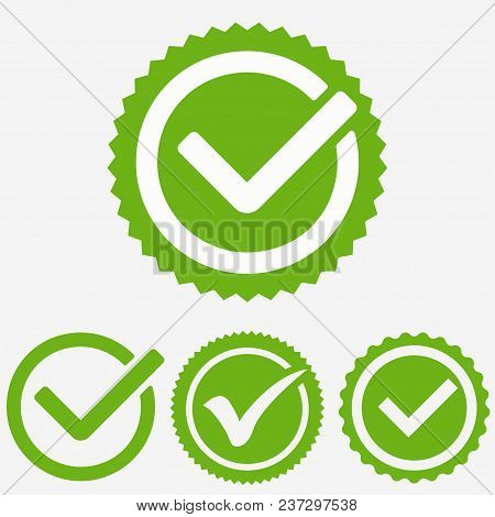 Green Tick Mark. Check Mark Icon. Tick Sign. Green Sign Approval Isolated On White Background. Vecto