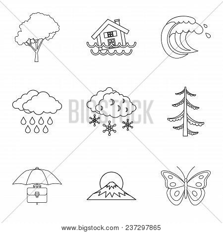 Atmospheric Condition Icons Set. Outline Set Of 9 Atmospheric Condition Vector Icons For Web Isolate