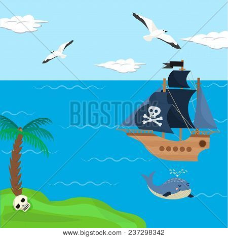Pirate Ship Vector Kids Cartoon Piracy Backdrop With Pirateboat Or Sailboat On Seaside With Island A