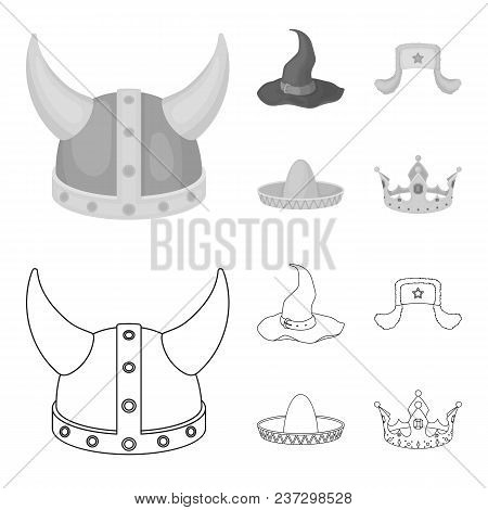 Sombrero, Hat With Ear-flaps, Helmet Of The Viking.hats Set Collection Icons In Outline, Monochrome