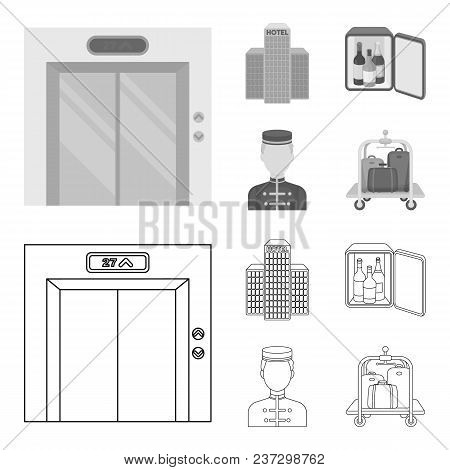 Elevator Car, Mini Bar, Staff, Building.hotel Set Collection Icons In Outline, Monochrome Style Vect