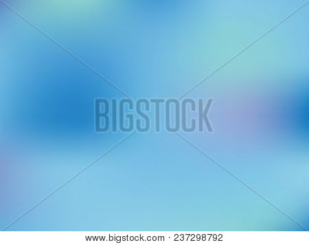 Pale Blue Background. Light Blur Backdrop. Delicate Pattern. Abstract Sky. Vector  Holographic Textu