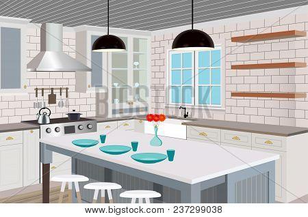 Kitchen Interior Background With Furniture. Design Of Modern Kitchen. Symbol Furniture.