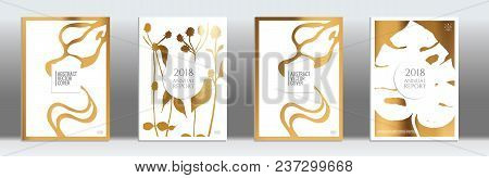 Golden Cover Set. Tropical Flyer On Light Background.  Liquid Design. Brochure Template Design. Luxu