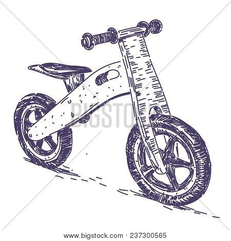 Balance Bike Vector Realistic Hand Drawing Sketch