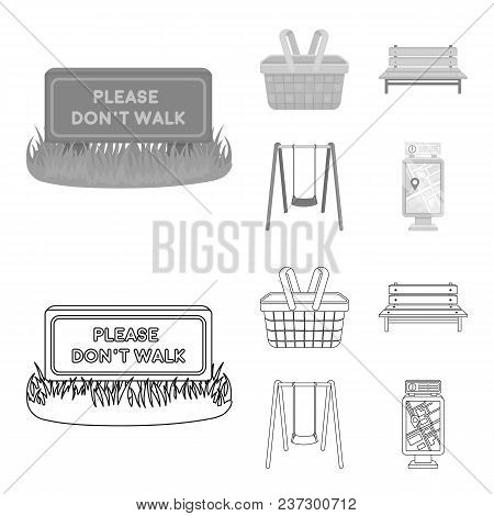 Lawn With A Sign, A Basket With Food, A Bench, A Swing. Park Set Collection Icons In Outline, Monoch