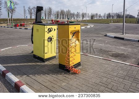 Belarus, Minsk-april 10, 2018: Compressor For Car Tires Pumping And Vacuum Cleaner At Gas Station