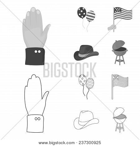 Balloons, National Flag, Cowboy Hat, Palm Hand.patriot Day Set Collection Icons In Outline, Monochro
