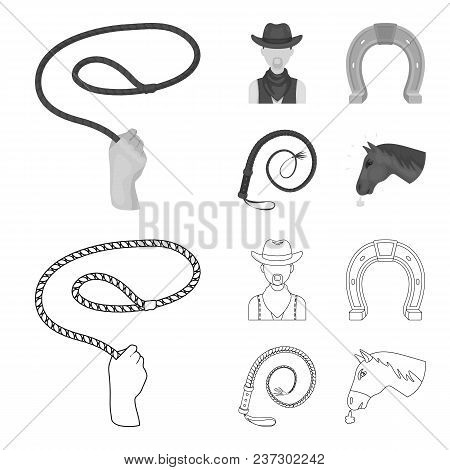 Hand Lasso, Cowboy, Horseshoe, Whip. Rodeo Set Collection Icons In Outline, Monochrome Style Vector