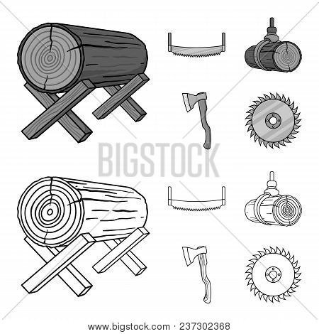 Log On Supports, Two-hand Saw, Ax, Raising Logs. Sawmill And Timber Set Collection Icons In Outline,