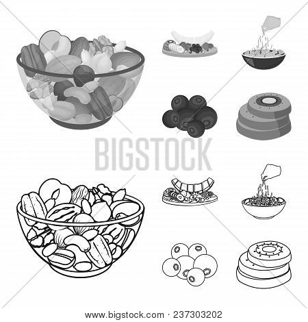 Assorted Nuts, Fruits And Other Food. Food Set Collection Icons In Outline, Monochrome Style Vector