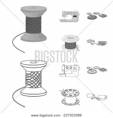 Thread Reel, Sewing Machine, Bobbin, Pugwitz And Other Equipment. Sewing And Equipment Set Collectio