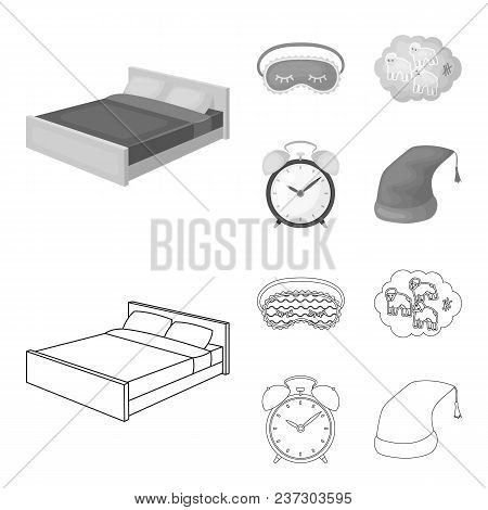 A Bed, A Blindfold, Counting Rams, An Alarm Clock. Rest And Sleep Set Collection Icons In Outline, M