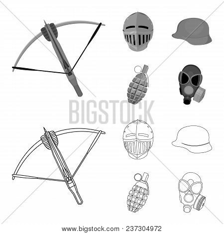 Crossbow, Medieval Helmet, Soldier Helmet, Hand Grenade. Weapons Set Collection Icons In Outline, Mo