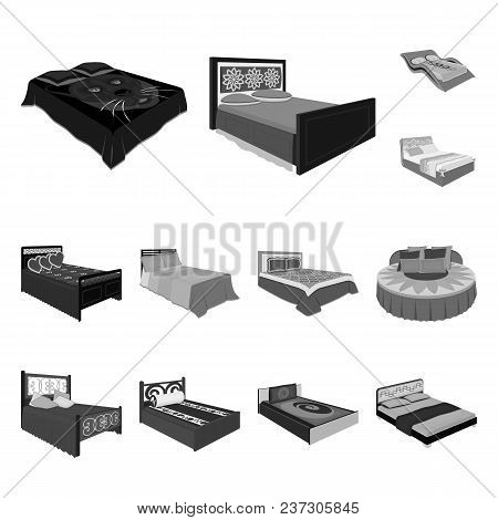 Different Beds Monochrome Icons In Set Collection For Design. Furniture For Sleeping Vector Isometri