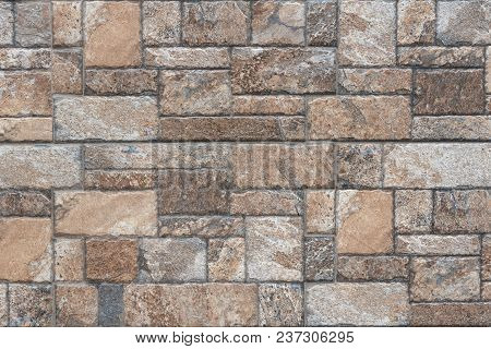 Seamless Texture Of Brown Stone - Stone Tile Floor Paving Fragment - Texture Of Rock.