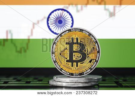 Bitcoin (btc) Cryptocurrency; Coin Bitcoin On The Background Of The Flag Of India