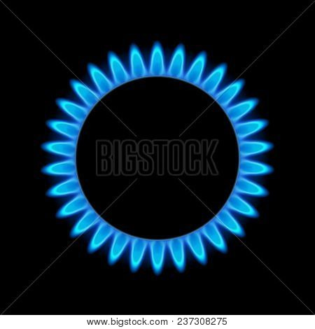 Gas Flame Blue Energy. Gas Stove Burner For Cooking. Fire Heat Butane Or Propane Natural Power.