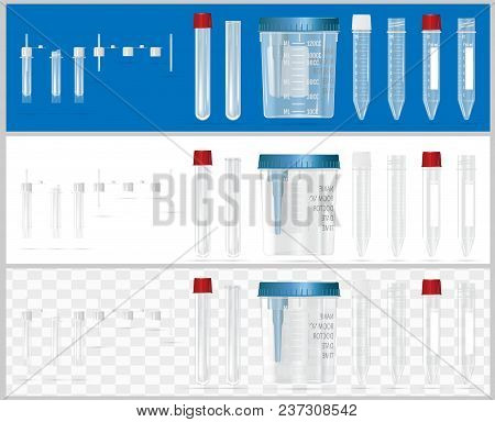 Sterile Containers For Analysis. Open And Closed Containers. Set