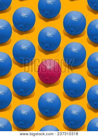 Lemon Fruit Seamless Pattern Many Large Blue Lemons And One Red Lemon Are Lying On A Yellow Backgrou