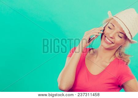 International Calls, Calling Friends And Family Abroad, Modern Technology Concept. Tourist Woman Wit