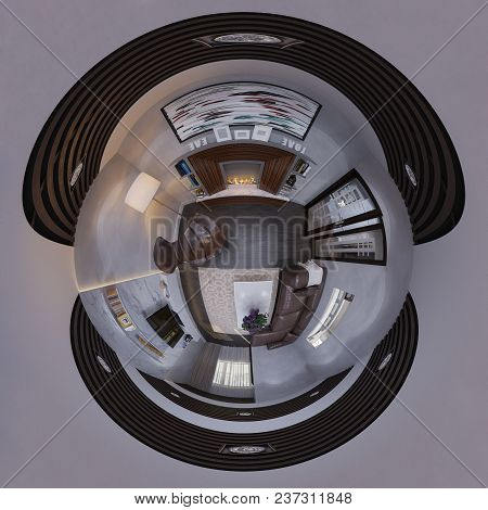 3d Illustration 360 Degree Spherical Seamless Panorama Of The Interior Design Living Room. The Style