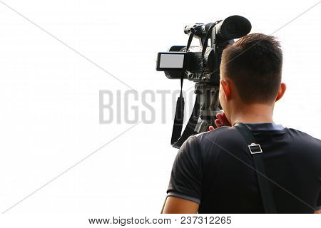 Cameraman Taking Video Recording Over White Background