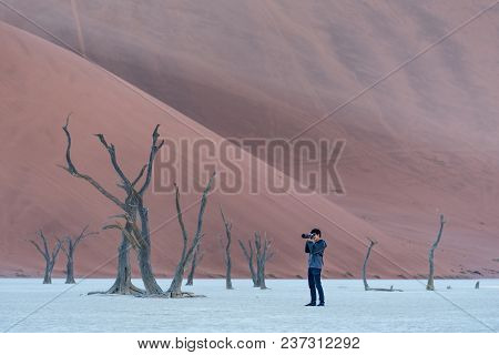 Young Male Photographer And Traveler Taking Photo Of Dead Tree In Deadvlei (sossusvlei), Famous Natu