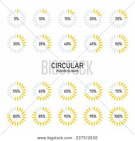 Collection Of Circular Futuristic Progress Loading Bar And Buffering Percentage Isolated On White Ba