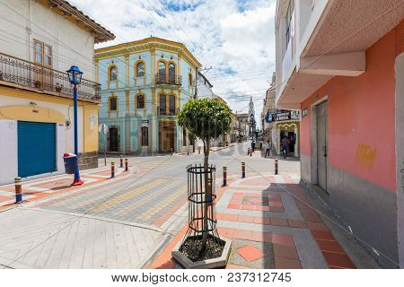 Otavalo April 2018 Bolivar Street  In A Sunny Day Loved  For Its Colonial Style.