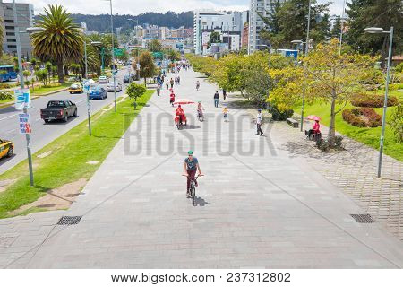Quito April 2018 United Nations Avenue  In Quito, Cycle And Pedestrian Path Where Local  People Have