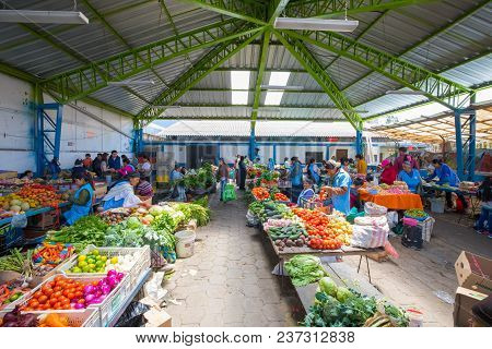 Otavalo April 2018 This Is The Covered Market Of Fruit And Vegetable In Otavalo Ecuador, Built In 20