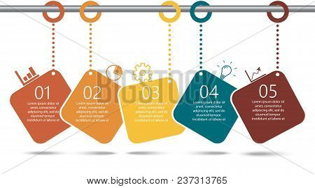 Timeline Infographics Design Template With 5 Options, Process Diagram, Vector Eps10 Illustration.