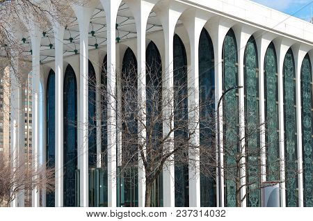 Architectural Detail With Colonnaded Portico And Facade Of Office Building In Downtown Minneapolis M