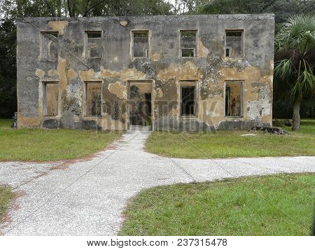 JEKYLL ISLAND, GEORGIA-OCTOBER 17, 2017: Horton House Historic Site features tabby ruins of the 18th-century plantation home of a military aide to James Oglethorpe, founder of the colony of Georgia.