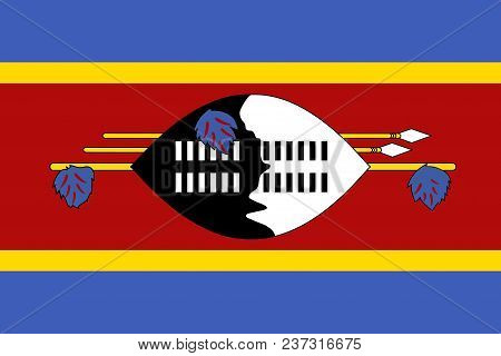 Flag Of Kingdom Of Eswatini - Swaziland Official Colors And Proportions, Vector Image