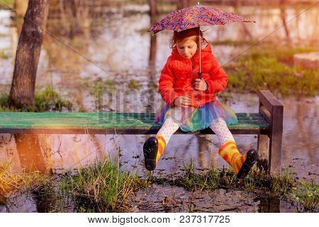 Charming Little Girl In Skirt And Colorful Gumboots Sitting On Bench With Umbrella Surrounded With P