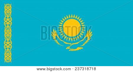 Flag Of Kazakhstan Official Colors And Proportions, Vector Image