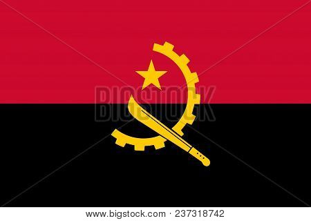 Flag of Angola official colors and proportions, vector image poster