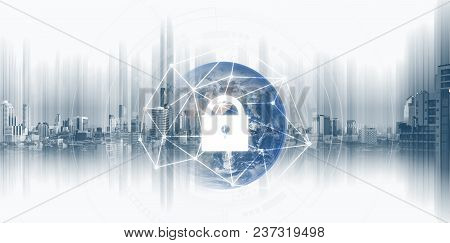 Global Network Security System Technology. Globe And Network Connection And Lock Icon. Element Of Th
